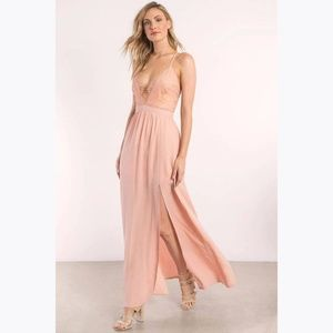 TOBI Opposites Attract Rose Lace Maxi Dress sz S